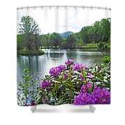 Rhododendron Blossoms And Mountain Pond Shower Curtain
