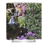 Rhododendron Flowers By Waterfall Shower Curtain