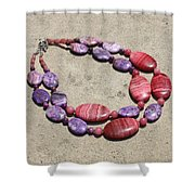 Rhodonite And Crazy Lace Agate Double Strand Chunky Necklace 3636 Shower Curtain