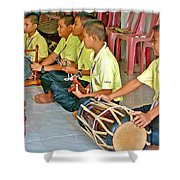 Rhythm Section In Traditional Thai Music Class  At Baan Konn Soong School In Sukhothai-thailand Shower Curtain