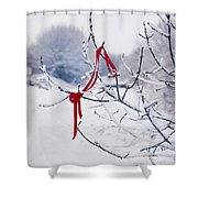 Ribbon In Tree Shower Curtain