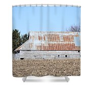 Ribbon Roof Barn Shower Curtain