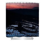 Rice Terrace After Sunset Shower Curtain