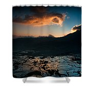 Rice Terrace And Cloud Shower Curtain