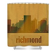 Richmond Virginia City Skyline Watercolor On Parchment Shower Curtain
