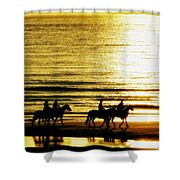 Rider Silhouettes Against The Sea Shower Curtain