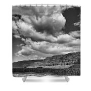 Ridges Black And White Shower Curtain