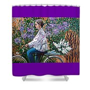 Riding Bycicle For Lilac Shower Curtain