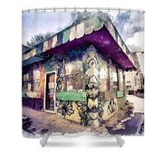Riding High Skateboard Shop Watercolor Shower Curtain