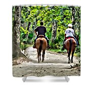 Riding In The Woods Shower Curtain