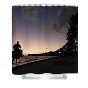 Riding On The Beach Shower Curtain by Adam Romanowicz