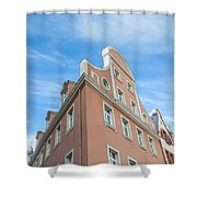 Riga Pink Building Shower Curtain