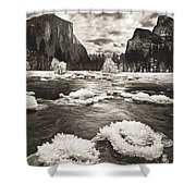 Rime Ice On The Merced In Black And White Shower Curtain