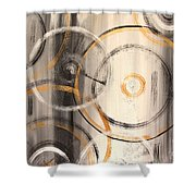 Rings Of Gold Abstract Painting Shower Curtain