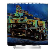 Rio Grande Homage 1950  Gas Station And Vehicle C.1935 Shower Curtain