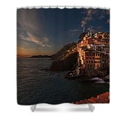 Riomaggiore Peaceful Sunset Shower Curtain by Mike Reid