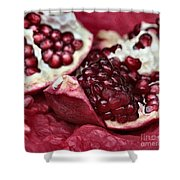 Ripe Red Pomegranate Close Up Shower Curtain