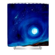 Rising Desert Moon Shower Curtain