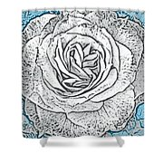 Ritzy Rose With Ink And Blue Background Shower Curtain