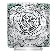 Ritzy Rose With Ink And Green Background Shower Curtain