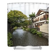 River And Houses In Kyoto Japan Shower Curtain