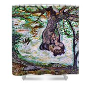River And Plane Tree Shower Curtain