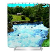 River And Waterfall In France Shower Curtain