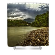 River Below The Clouds Shower Curtain