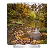 River Blyth In Autumn Vertical Shower Curtain