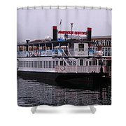 River Boat At Dock Shower Curtain
