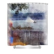 River Boat Speed Racing Vertical Photo Art Shower Curtain