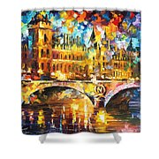 River City - Palette Knife Oil Painting On Canvas By Leonid Afremov Shower Curtain