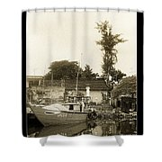 River Fishing Boat In Hoi An Shower Curtain