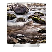 River Flowing Over Rocks Shower Curtain