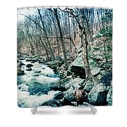 River Flowing Through A Valley, Hudson Shower Curtain
