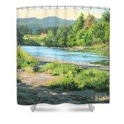 River Forks Morning Shower Curtain