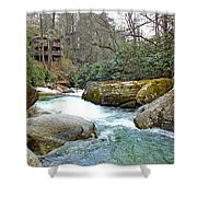 River House In Spring Shower Curtain