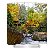River House In The Fall Shower Curtain
