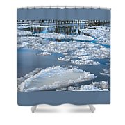 River Ice Shower Curtain