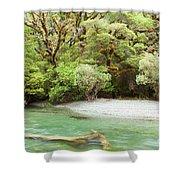 River In Rainforest Wilderness Of Fiordland Np Nz Shower Curtain