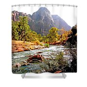 River In Zion National Park Shower Curtain