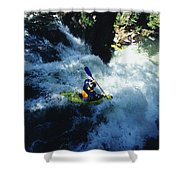 River Kayaking Over Waterfall, Crested Shower Curtain