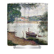 River Landscape With A Boat Shower Curtain by Georges Pierre Seurat