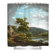 River Landscape With Farmhouse Shower Curtain