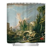 River Landscape With Ruin And Bridge Shower Curtain