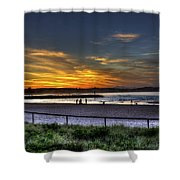 River Mouth At Sunset Shower Curtain