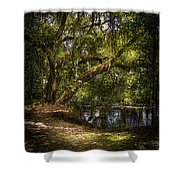 River Oak Shower Curtain by Marvin Spates