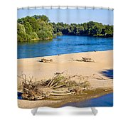 River Of Drava Green Nature Shower Curtain