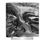 1m3646-bw-river Of Ice On Snowbird Glacier Shower Curtain