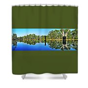 River Panorama And Reflections Shower Curtain